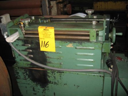 GAUER No. 6H20NC 20 THRU-FEED COIL STRIP EDGE DEBURRING MACHINE