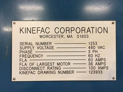 KINEFAC Mdl# MC-25, 2 DIE CYLINDRICAL THREAD ROLLER