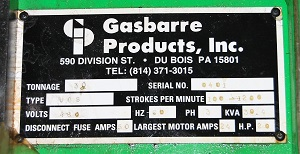 30 Ton GASBARRE #VGS HIGH SPEED PRESS