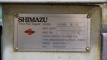 SHIMAZU 3NF 3/8 TWO SPINDLE NUT TAPPER