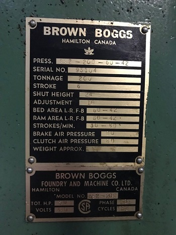200 TON BROWN BOGGS SS2-200-60-42 STRAIGHT SIDE PRESS